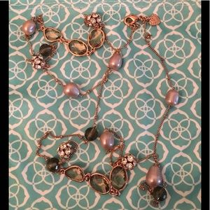 Rose Gold Stella & Dot Pearl Jeweled Necklace